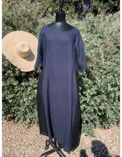 Robe longue en lin | Made in France | Dou Bochi | Tages bicolore