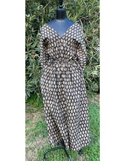Robe taille coulissee en Indiennes| Made in France | Dou Bochi | Badon